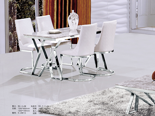 Counter:BX-3+6#Standard:1350x800mm 1200x700mm Dining chair:X-28#white